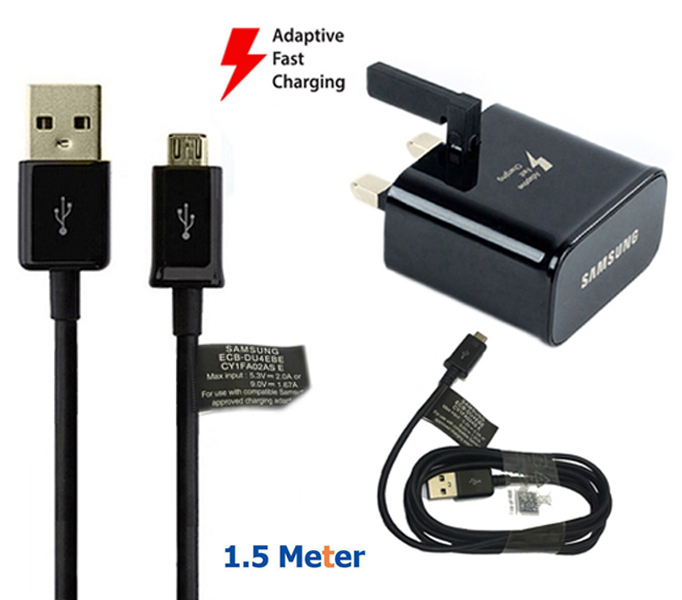 Genuine Samsung Fast Charger Adapter & 1.5M Micro USB Charging Cable Data Sync Cord