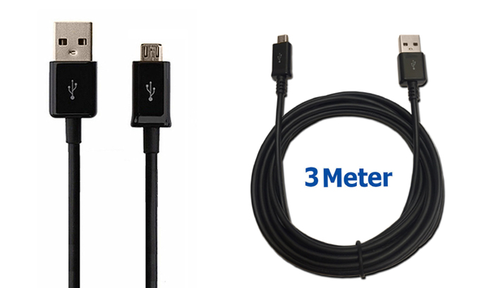 Universal 3M Extra Long Micro USB Charger Cable Charging Lead Data Transfer Wire Power Cord
