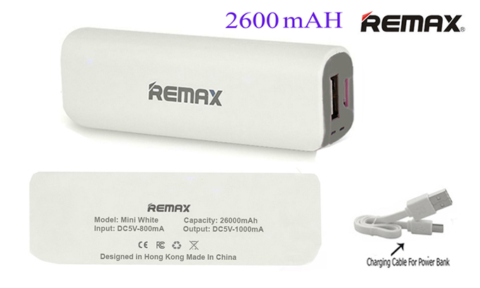 Genuine Remax 2600mAh Power Bank Emergency Portable Charger Battery Back Up