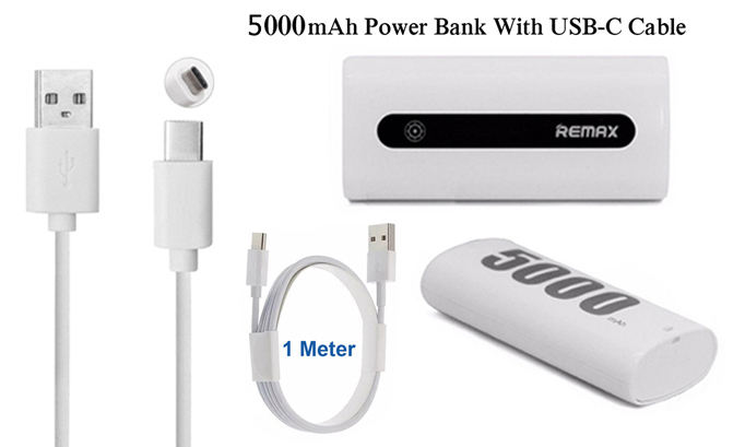 Genuine Remax 5000mAh Power Bank Mini Portable Charger & 1M USB Type-C Data Cable