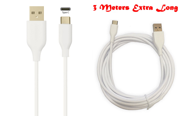 New 3M Extra Long USB-C Type-C Charger Cable Data Sync Lead Mains Power Outlet Cord Wire