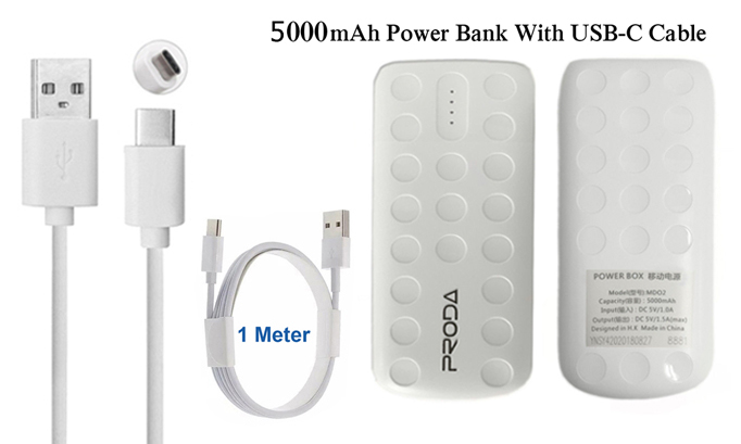 Genuine Proda 5000mAh Power Bank Portable Charger With 1M Type-C USB Data Lead