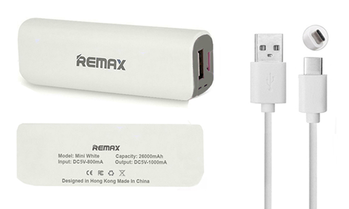 Genuine Remax 2600mAh Power Bank Emergency Charger & 1M USB-C Type-C Data Cable