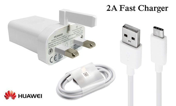 Genuine Huawei 2 Amp Fast Mains Charging Plug Adapter & 1M USB-C Type-C Data Cable