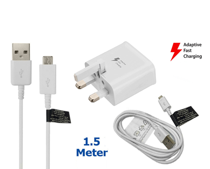 Genuine Samsung Fast Charger Plug & 1.5M Micro USB Charging Cable Data Sync Lead