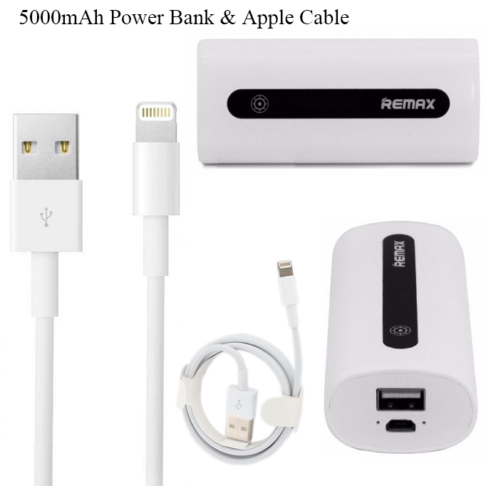 Genuine Remax 5000mAh Power Bank Mini Portable Charger & 1M Apple Lightning Cable